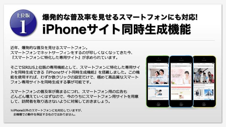 SIRIUS iPhoneサイト同時生成機能
