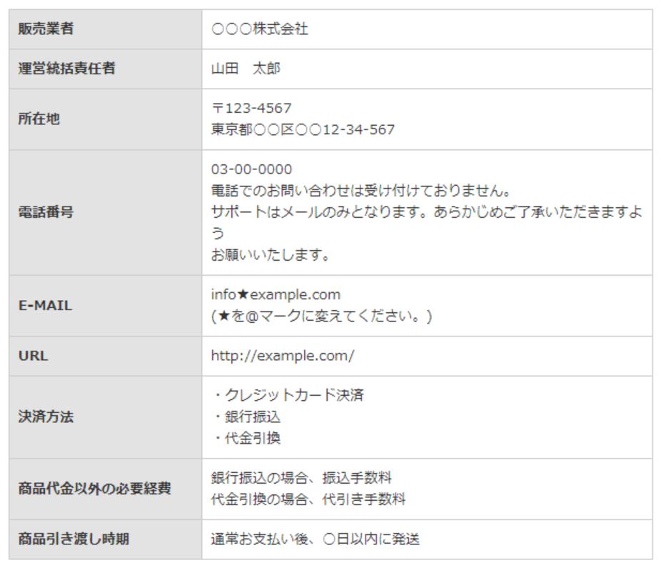 SIRIUS テーブル 特定商品取引法ページ(詳細版)